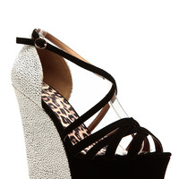 Qupid Classic Two Tone Strappy Wedges