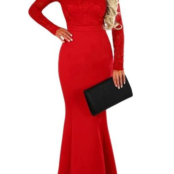 Red Lace Long Sleeve Bow Back Maxi Party Dress