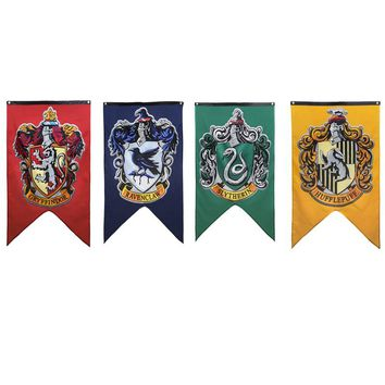 Harri Potter Party Supplies College Flag Banners Gryffindor Slytherin Hufflerpuff Ravenclaw Kids Toys magic Home Decoration