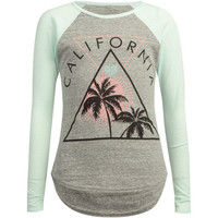 Full Tilt Tropical Cali Girls Raglan Tee Grey Combo  In Sizes