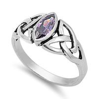 925 Sterling Silver CZ Wicca Triquetra Simulated Amethyst Ring 9MM