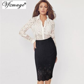 Vfemage Womens Elegant Hollow Out Suede Leather High Waist 2017 Spring Casual Wear to Work Party Bodycon Pencil Skirts 4620