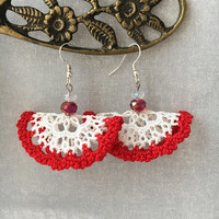Lace Earrings, Red and White Earrings, Dangle Earrings, Statement Earrings, Boho Earrings