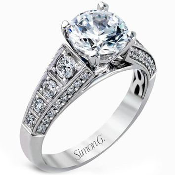 Simon G. Classic Side Stone Diamond Engagement Ring