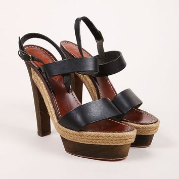 QIYIF Black and Brown Leather Espadrille Wood Platform Sandals