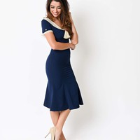 Stop Staring! 1930s Navy & Ivory Lace Cap Sleeve Railene Dress