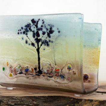 Fused glass napkin holder ,brigh black trees -   white landscape