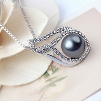 Rhodium Plated Alloy Pendant Necklace
