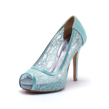Tiffany Blue Lace Wedding Shoes,Tiffany Blue Bridal Heels,Tiffany Blue Satin See Through Lace Peep Toe Pumps