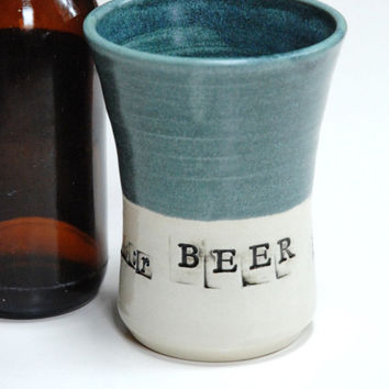 Pottery beer glass,no handle stein,clay pint glass,beer lovers gift,ceramic beer cup,Father's day gift,lager glass,blue ceramic cup