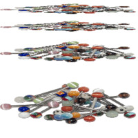 Wholesale Lot of 20 Straight Barbells 14G Mixed Surgical Steel with Glass End Beads