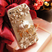 iPhone 4 Case, iPhone 4s Case,iPhone 5 Case, Bling iPhone5 Case, Bling iPhone 4 case, Unique iPhone 5 case, Floral iphone 4 case Pumpkin car