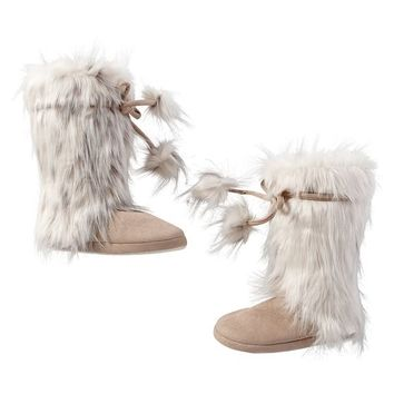 Pom-Pom Tie Faux-Fur Booties, Snow Cat
