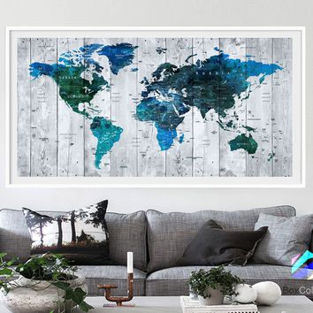 XL Poster Push Pin World Map travel Art Print Photo Paper watercolor wood texture Wall Decor (frame is not included)(P13) FREE Shipping USA!