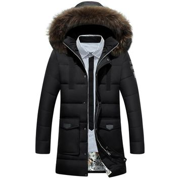 Winter Long Thick Warm Detachable Big Fur Collar Duck Down Jacket Men