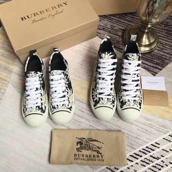 Burberry Flower Print Coated Cotton Sneakers
