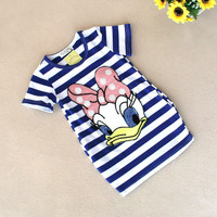 latest summer girls striped dress children cartoon Donald Duck, the two sides in my pocket dress 2-7 years A122