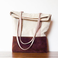 Vegan tote bag faux leather brown and beige shopping bag market bag suede bag