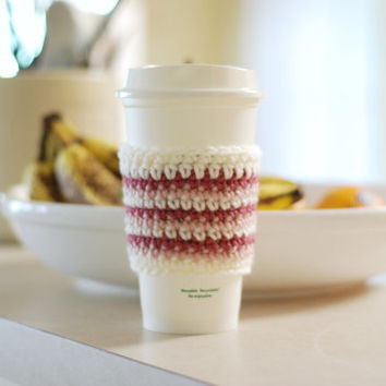 Crochet Coffee Cup Cozy Ombre Striped Pink White Travel Cup Cozy Cup Sleeve Gift Idea