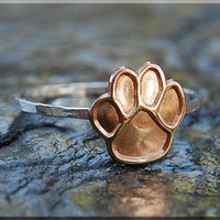 Paw Print Stacking Ring, Sterling Silver and Brass ring, Pet Lover Stacking Ring, Pet Pride ring, Puppy Paw stacking ring, Gold Dog Paw Ring