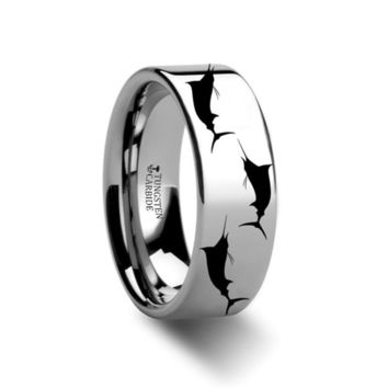 Sea Pattern - Marlin Fish - Sea Print Ring - Laser Engraved - Flat Tungsten Ring - 4mm - 6mm - 8mm - 10mm - 12mm