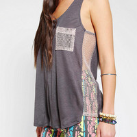 Silence & Noise Gridded Mesh Tank Top