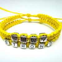 Yellow Stay Strong Bracelet Set, Adjustable Hemp Jewelry - Black Friday Cyber Monday Sale