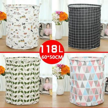 Large 60*50cm Folding Laundry Basket Cartoon Storage Barrel Cotton Linen Dirty Clothes Basket Toy Bra Sock Storage Basket/Bucket