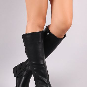 Stud Frame Sole Flat Knee High Riding Boots