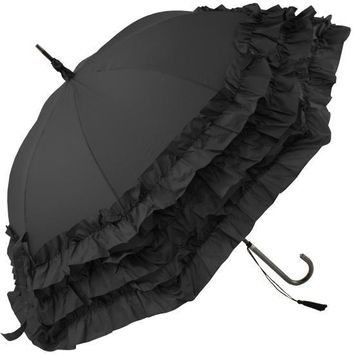Triple Frill Black Pagoda Umbrella