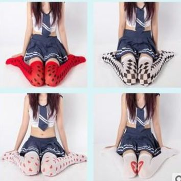Princess sweet lolita Stockings silk stocking Velvet printed Japanese HARAJUKU student knee-high heart  Quilting over the knee