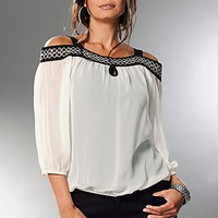 Off White & Black Cut shoulder blouse from VENUS