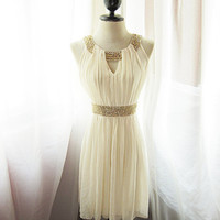 Egyptian Goddess Soft French Cream Chiffon Dress by RiverOfRomansk