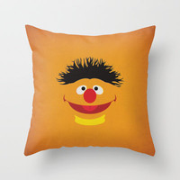 Sesame Street Vintage Nursery Art Ernie Retro Style Minimalist Poster Print Throw Pillow by The Retro Inc