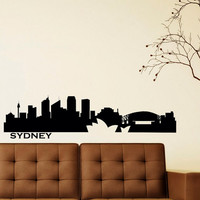 Wall Decals Vinyl Stickers Sydney City Skyline Silhouette Australia Home Decor for Living Room C025