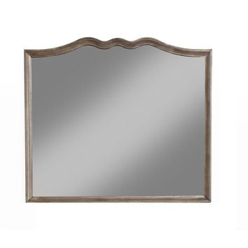 Antique Curved Framed Mirror In Wood Brown