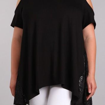 Black Plus Size Cold Shoulder