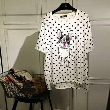 White Dog Print Polka Dots Loose T-Shirt