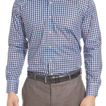 Men's Peter Millar 'Milano' Regular Fit Gingham Sport Shirt,