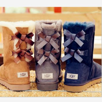 UGG:: bow leather boots boots in tube Boots HIGH HIGH QUALITY