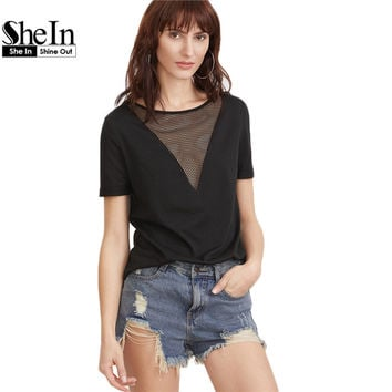 SheIn Summer 2017 Women Clothing Summer T-shirt for Women Black Eyelet Mesh Boat Neck Short Sleeve Sexy T-shirt