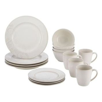 BonJour Dinnerware Paisley Vine 16-Piece Stoneware Dinnerware Set in Cream-54038 at The Home Depot