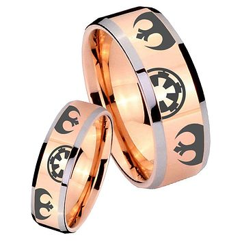 His Hers Rose Gold Beveled Star Wars Galactic Empire 2 Tone Tungsten Wedding Rings Set