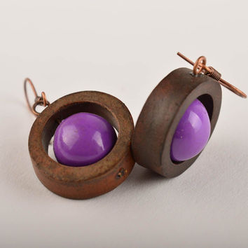 Round earrings homemade ceramic jewelry earrings for women gifts for her