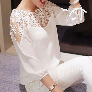 Fashion Women Shirts 3\4 Sleeve Lace Hollow Casual Chiffon Blouse Crop Ladies Girl White Black Cosy Tops Shirts