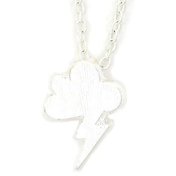 Stormy Cloud Necklace Silver Tone NU47 Lightning Bolt Charm Pendant Fashion Jewelry