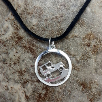 Jeep Necklace, 4x4 Necklace, Silver Off Road Pendant, Silver Off road Charm Necklace