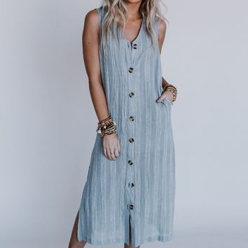 Uncharted Button Down Maxi Dress - Light Gray