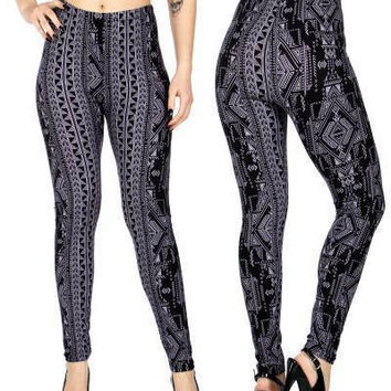 Digital Tribal  Print  Softbrush leggings PLUS SIZE