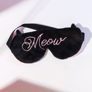 Meow Black & Pink Sleep Mask